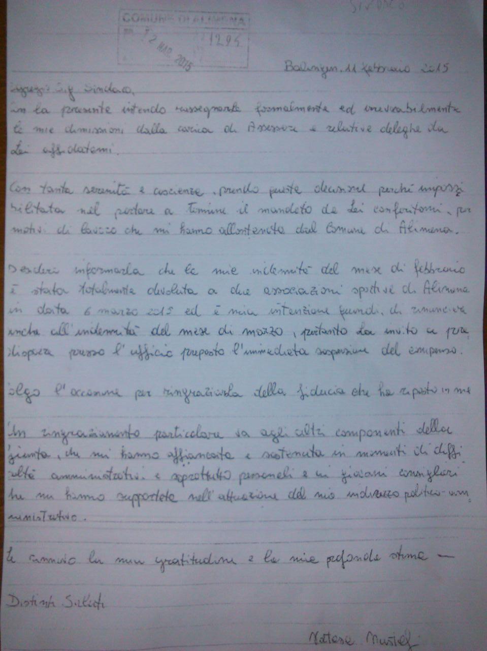 lettera dimissioni assessore mustafi