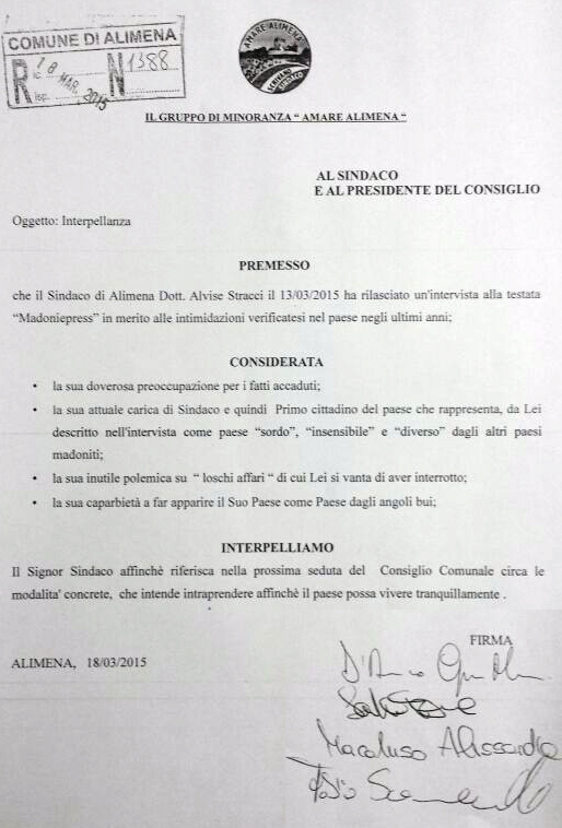 Interpellanza al Sindaco